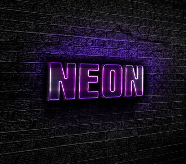 Free designs - Purple neon text effect