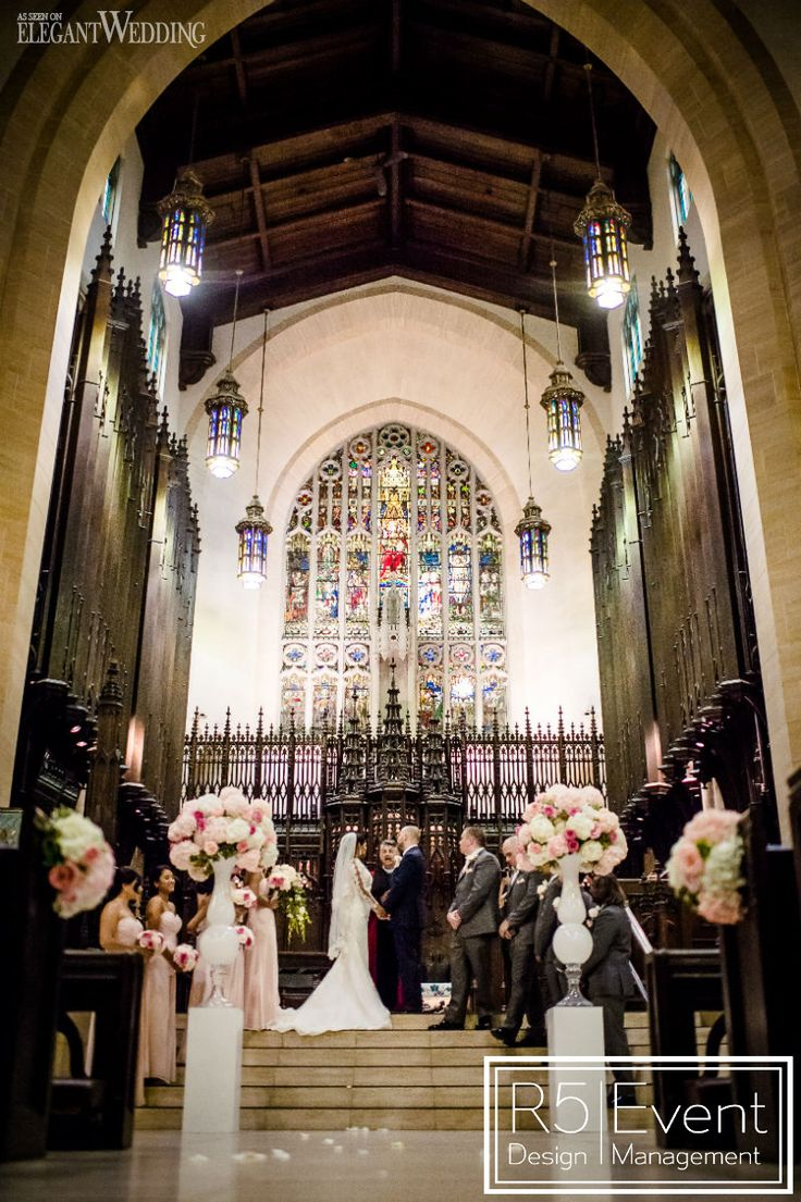 Flowers in Church Ceremony. Pink Secret Garden Wedding, featured on the @elegantwedmag blog! Full service event decor and Flowers by R5 Event Design