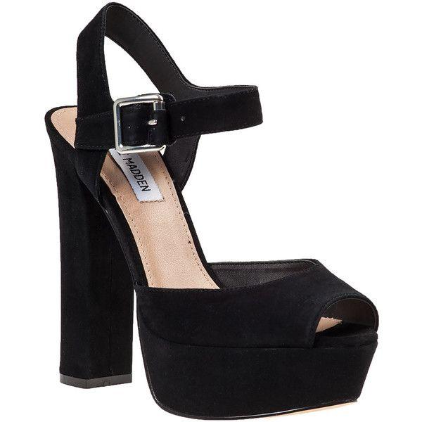 STEVE MADDEN Jillyy Platform Sandal Black Suede ($99) ❤ liked on Polyvore featuring shoes, sandals, heels, sapatos, black suede, heeled sandals, black shoes, black sandals, high heel shoes and embellished sandals