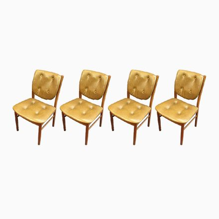 Skandinavische Stühle aus Teak und Skai, 4er Set Jetzt bestellen - stühle für die küche