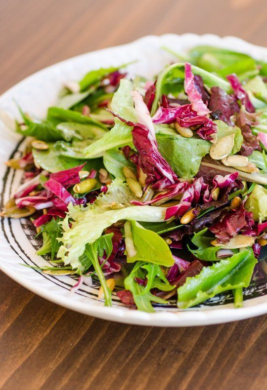 Quick Side Dish Recipe: Lemony Green Salad with Radicchio & Pepitas.