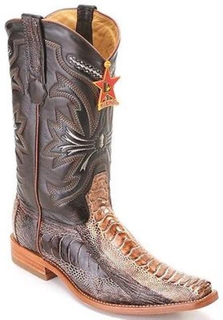 Rústico Cognac avestruz Pierna Diseño Cuadrado Botas de vaquero del dedo del pie en 235 dólares