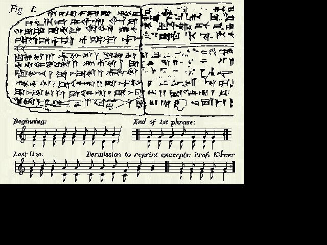 The Oldest Song in the World ~  Cuniform tablets from the Syrian city of ancient Ugarit, about 3400 bce  in the Hurrian language (with borrowed Akkadian terms) had a form of musical notation. There is evidence that both the 7-note diatonic scale as well as harmony existed 3,400 years ago. This flies in the face of most musicologists' views that ancient harmony was virtually non-existent and the scale only about as old as the Ancient Greeks, 2000 years ago.