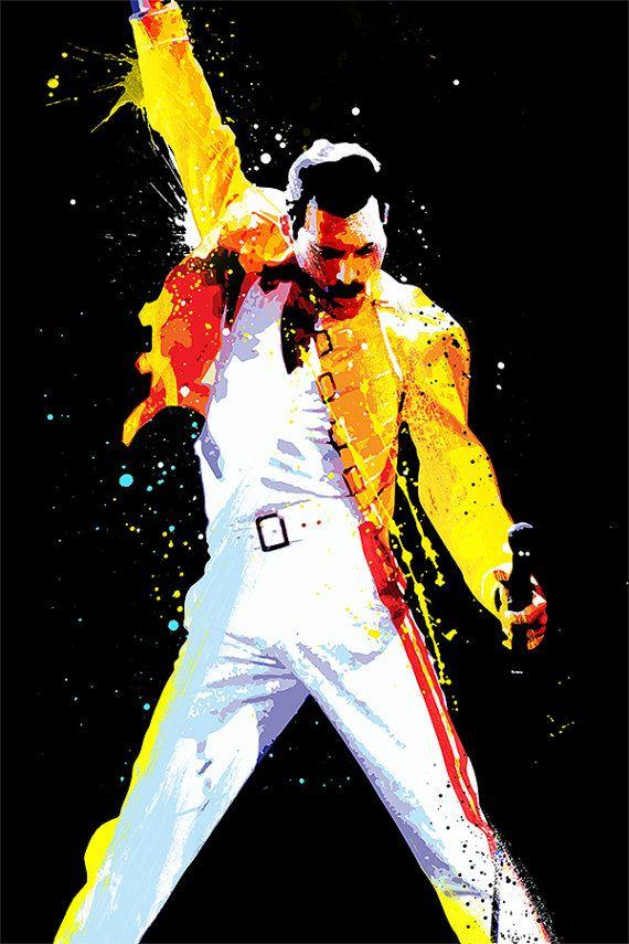 Freddie Mercury, Queen Pop Art, art print - musicmemorabelia - Giclee, Art print home wall decor                                                                                                                                                      Más
