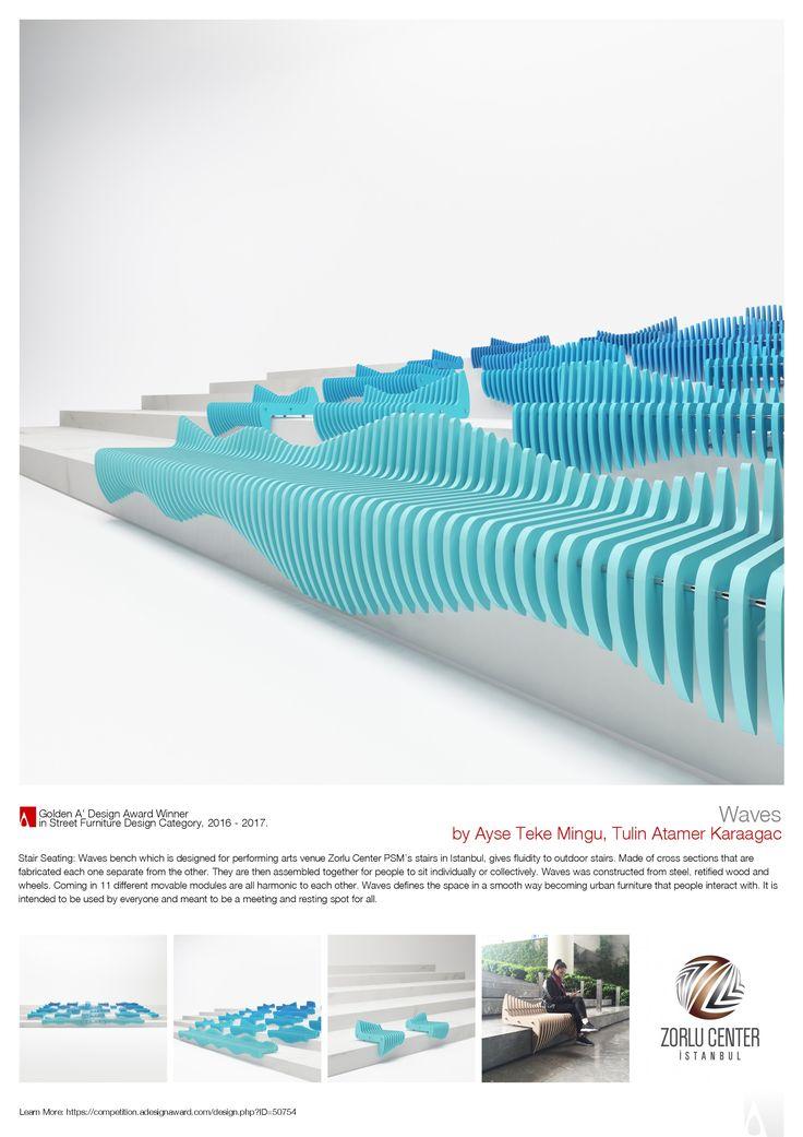 Waves Stair Seating Golden A' Design Award Winner for Street Furniture Design Category in 2017.  Waves Merdiven Oturma  2017 A' Design Award'da Sokak Mobilya Tasarım Kategorisinde Altin Ödülü aldı.  by Tulin + Ayse / Studio 34 Ayşe Teke Mingü - Tülin Atamer Karaağaç  https://competition.adesignaward.com/winners-category.php?CATEGORY=61  https://competition.adesignaward.com/design.php?ID=50754