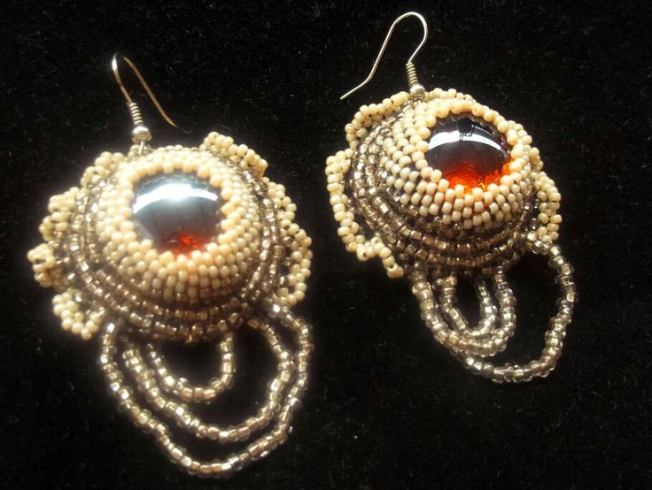 Earring cabochon #embroidery