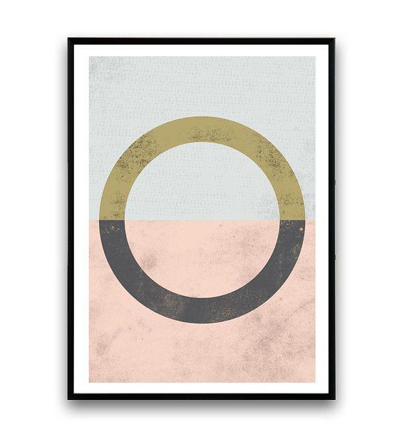 Geometrische Kunst, Kreis drucken, pink, Wandkunst, Aquarell abstrakt, Minimal Art, skandinavisches Design für print, Nordic, moderne Kunst, einfache