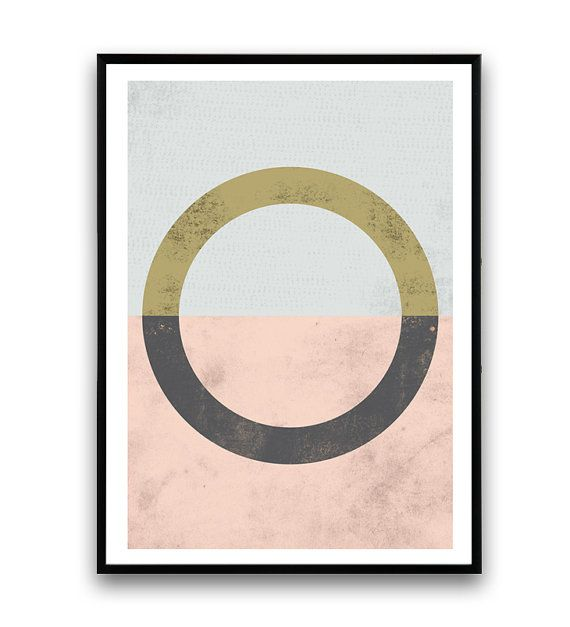 Geometric art circle print pink wall art Watercolor by Wallzilla