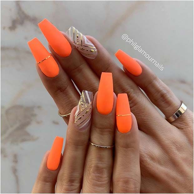 43 Of The Best Orange Nail Art Ideas And Designs Stayglam Orange Acrylic Nails Bright Orange Nails Neon Orange Nails
