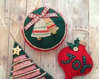 Adornos de Navidad / ornamentos de fieltro de Navidad / ornamentos de clásico hecho a mano / decoración árbol de Navidad / set de 3 - árbol de Navidad-gota-redondo