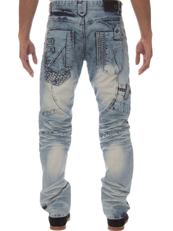 Eto Para Hombre de Diseñador azul ácido lavado a la piedra Informal Denim Regular Fit Jeans Cónicos