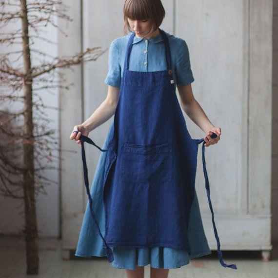 Handmade Apron Linen Apron Blue Apron Traditional by SondeflorShop