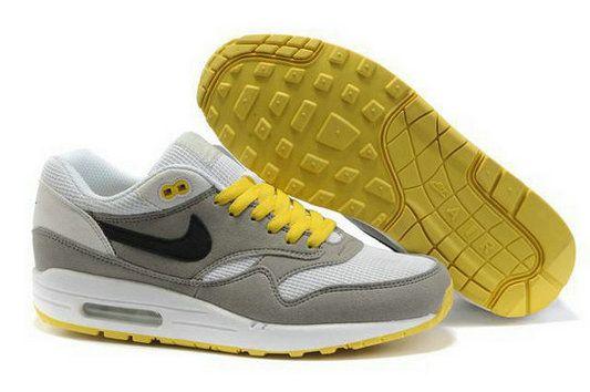 Men's Nike Air Max 1 White Grey Black Yellow Cheap 223taY