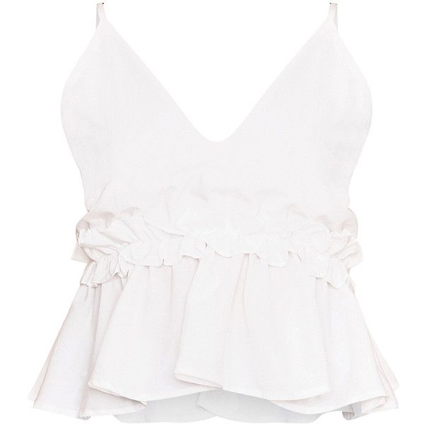 Airelle White Peplum Frill Cami Top (62 BRL) ❤ liked on Polyvore featuring tops, ruffle tank top, white crop tank top, cami tank tops, cropped camisoles and white tank
