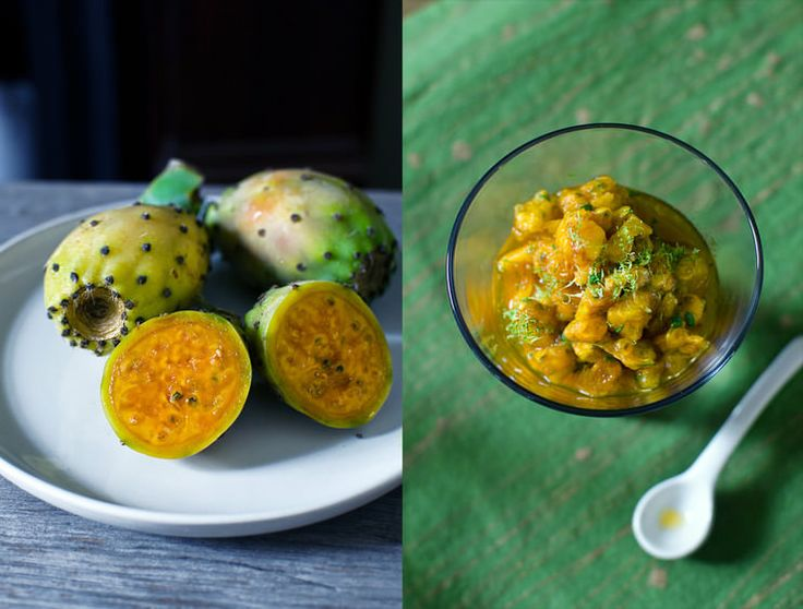 Prickly pear & tequila salsa, HeNeedsFood (prickly pears, tequila, lime juice and zest, jaggery, cilantro)
