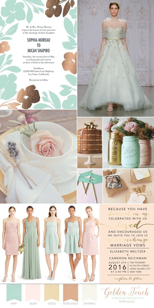 Romantic pastel wedding theme wedding paper divas bridal invitation mint blush gold palette