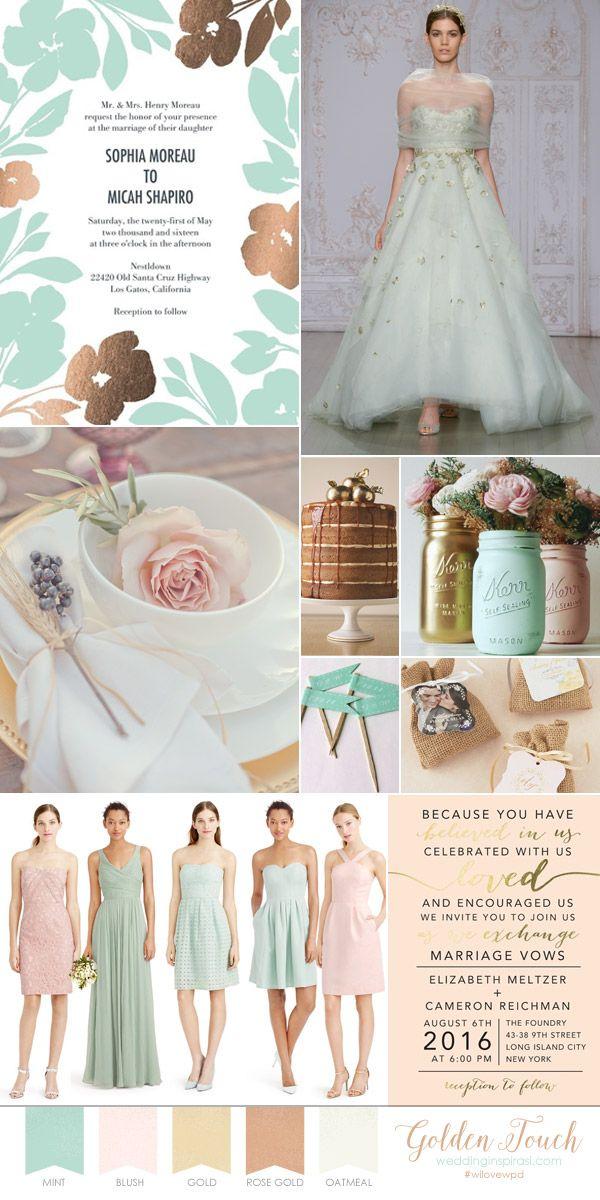 Romantic pastel wedding theme wedding paper divas bridal invitation mint blush gold palette