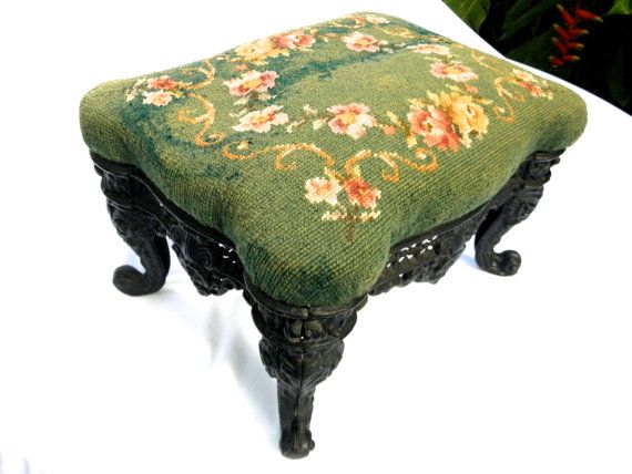 Antique Ornate Scalloped Cast Iron & Vtg Needlepoint Foot Stool, Victorian Foot Rest, Green Floral Needlepoint
