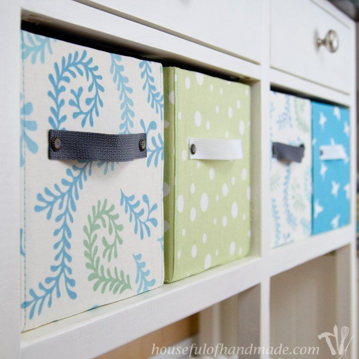 DIY Fabric Covered Storage Boxes - you could also make small drawers by covering the bottoms of milk bottles