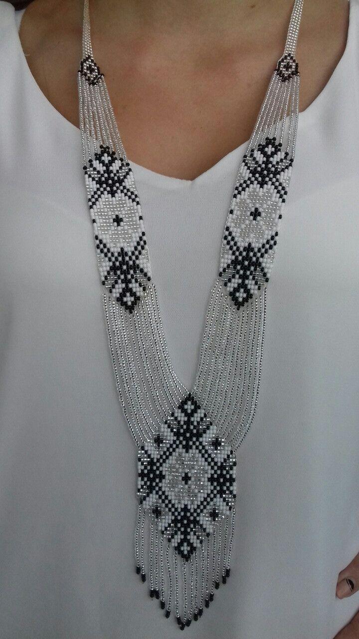 Широкий білий гердан намисто ручної роботи з круглого бісеру  58dfbc3dfbdee
