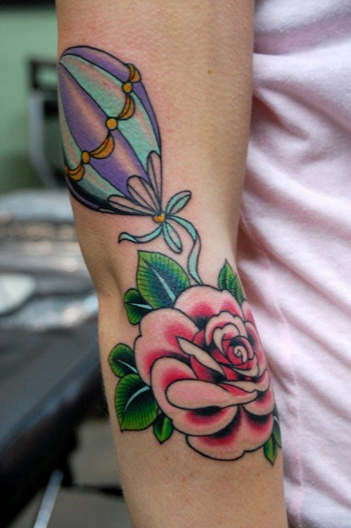 Phenomenal coloring: Tattoo Ideas, Pink Roses, Hot Air Balloon, Tattoo Artists, Tattoo'S, Neo Traditional Tattoo, Beautiful Tattoo, Balloon Tattoo, Traditional Pink Rose Tattoo