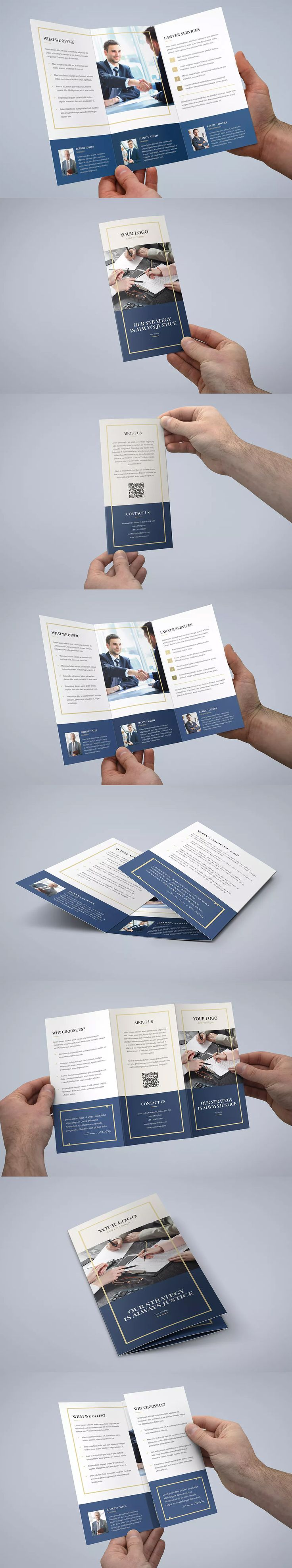 Law Firm Tri-Fold Brochure Template PSD - A4 and US Letter Size