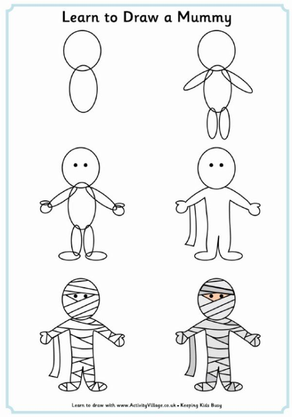 halloween drawing ideas how to draw a mummy - Simple Halloween Drawings