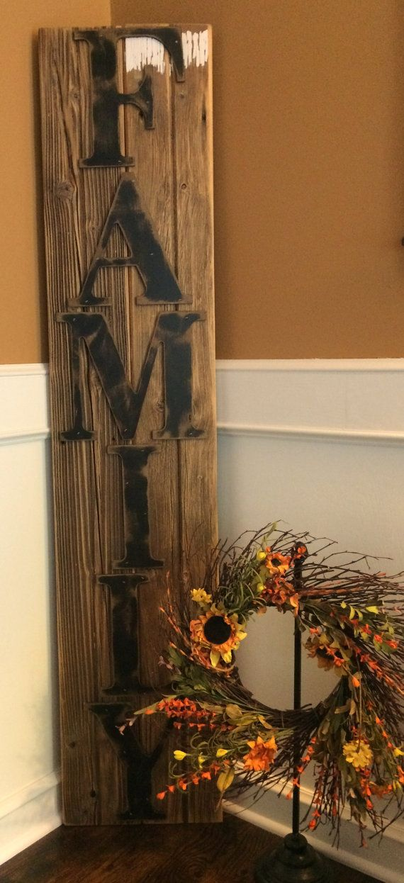 Rustic FAMILY Sign on Reclaimed Barn Wood Vertical  Modern