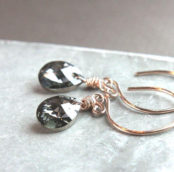 Swarovski Drop  Earrings Rose Gold Filled Jewelry   Swarovsky