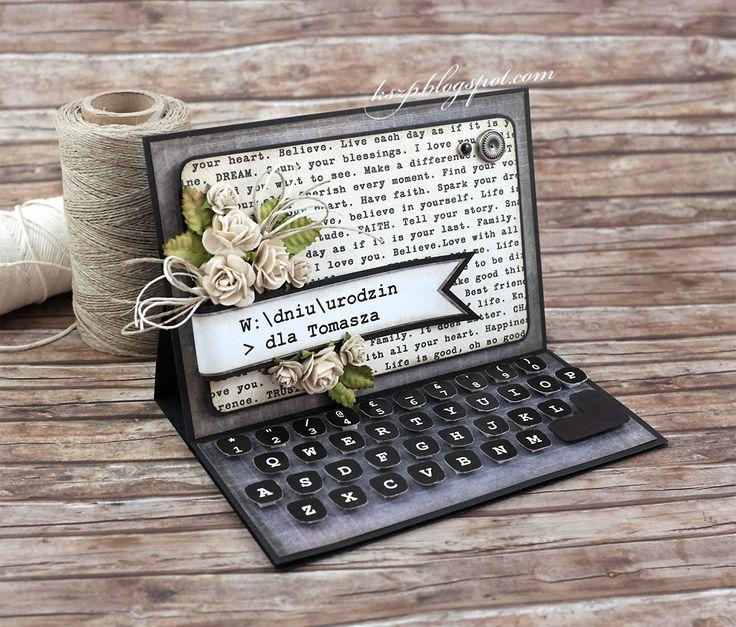 Kartki męskie, to dla mnie nie lada wyzwanie. Trudno tam upchać różowe kwiatki ;) Rzadko je robię i często okupione są wielkim wysiłkiem umy...
