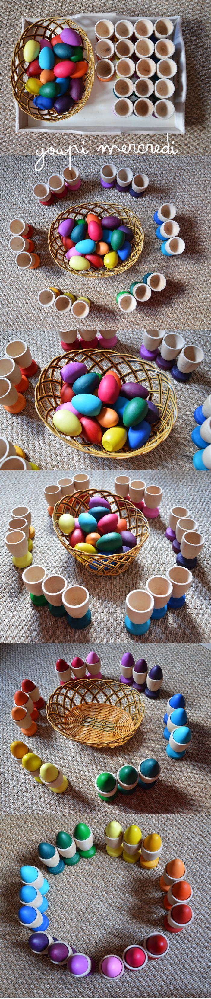 Egg and Cup color grading color matching. This is a fun Montessori inspired activity