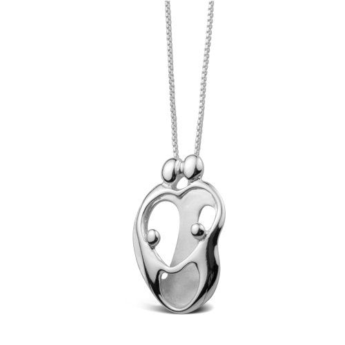 Sterling Silver Loving Family® Heart Necklace - Parents and 2 Children :: I've had this for years, still a favorite (although the two children are taller than us now)