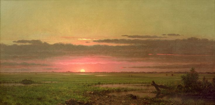 ~ Martin Johnson Heade - Sunset Marshland, New Jersey, ca. 1880-90, oil on canvas