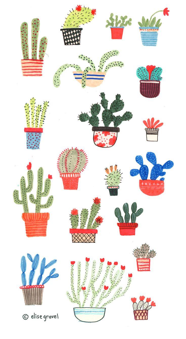 Elise Gravel illustration • cactus • plants • desert • hot • art • painting • watercolour • bloom • garden • flowers • drawing