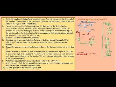 Online Math Tutoring ---- Square root of a decimal number by the long di...