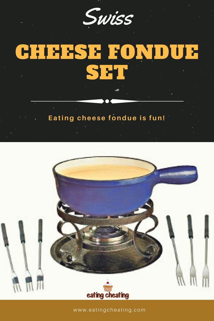 The best Swiss Cheese Fondue Set made of enameled cast iron. This cheese fondue set is for 6 people and it includes 6 fondue forks, 1 recipe, 3-ounce fire-gel container. #fondue #cheese #kitchen