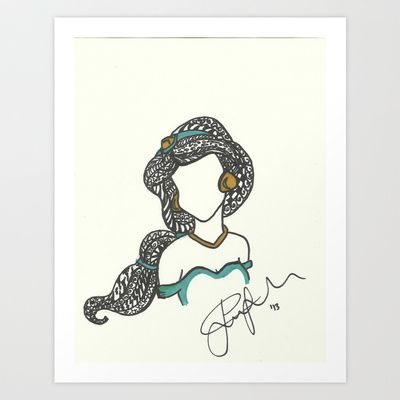 Princess Jasmine Zen Tangle Art Print by Jadie Miller - $20.00