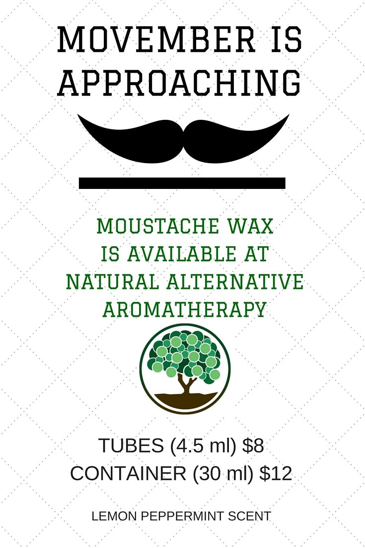 MOUSTACHE WAX!! All natural and organic moustache wax! Mild refreshing lemon and peppermint scent from the best essential oils!