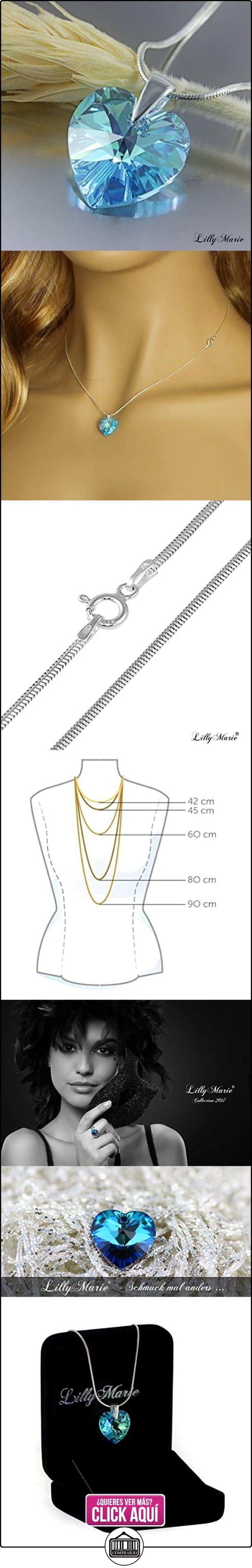 LillyMarie Cadena para mujer plata de ley 925, con Elementos Swarovski azul, 45 cm, colgante de corazón, con caja de joyas  ✿ Joyas para mujer - Las mejores ofertas ✿ ▬► Ver oferta: https://comprar.io/goto/B00FW1Z3AO