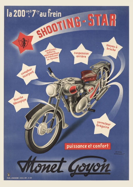 Monet Goyon French motorcycle 1950's art poster print | eBay