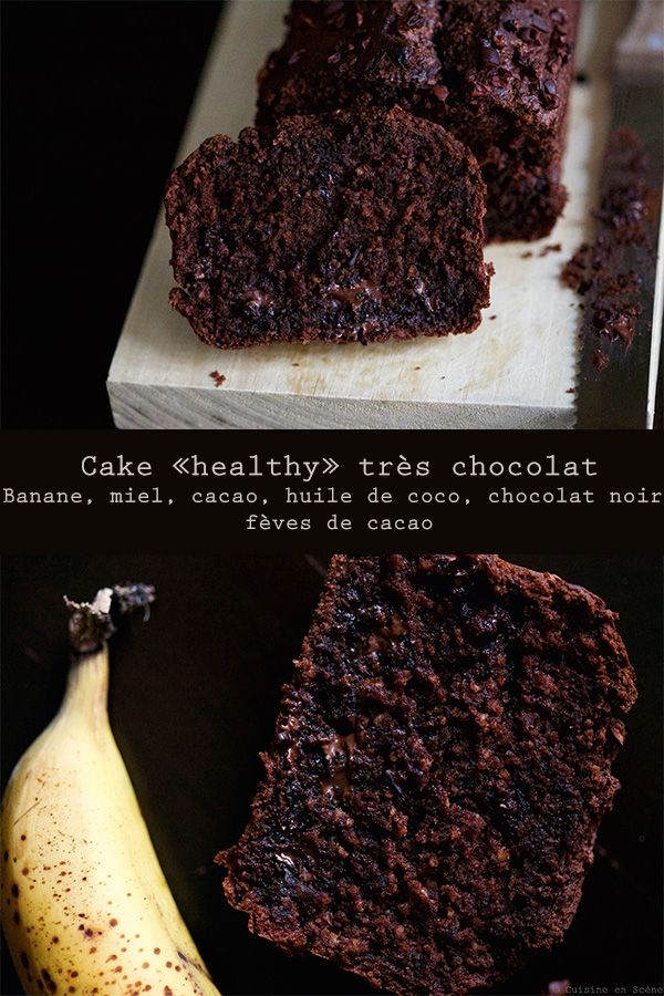 """Voici un cake au chocolat que vous pourrez déguster dès le matin trempé dans le café sans culpabiliser! Parce qu'il contient assez peu de matière grasse (huile de coco), qu'il est sucré naturellement et qu'il est riche en fibres (farine d'avoine). Les cakes """"healthy"""