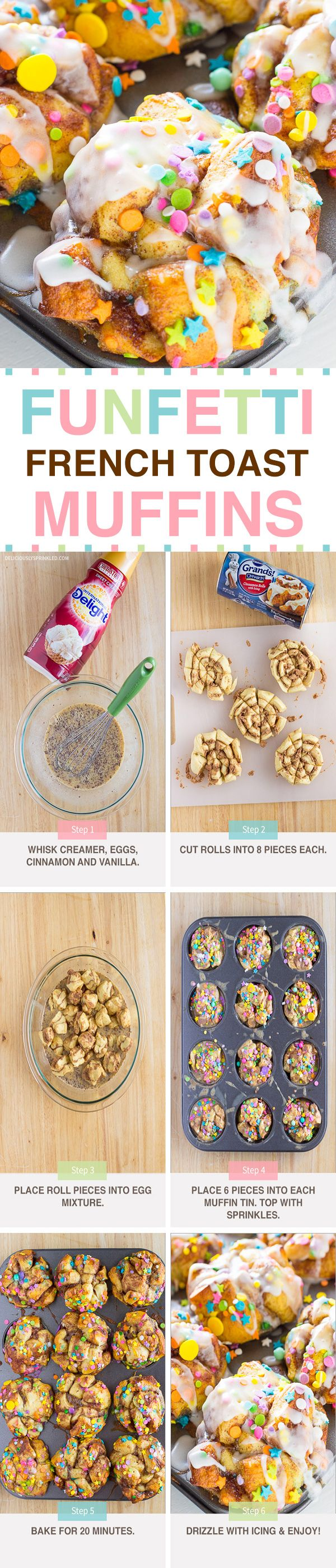 EASY to make Funfetti French Toast Muffins!!