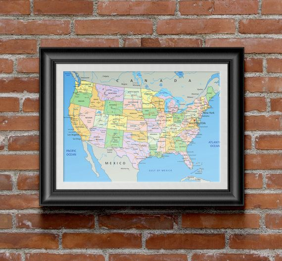 Map of the United States Instant Download High Resolution
