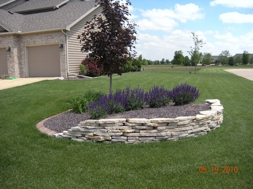 Natural stone drystack wall may night salvia brick paver for Landscaping rocks merced ca