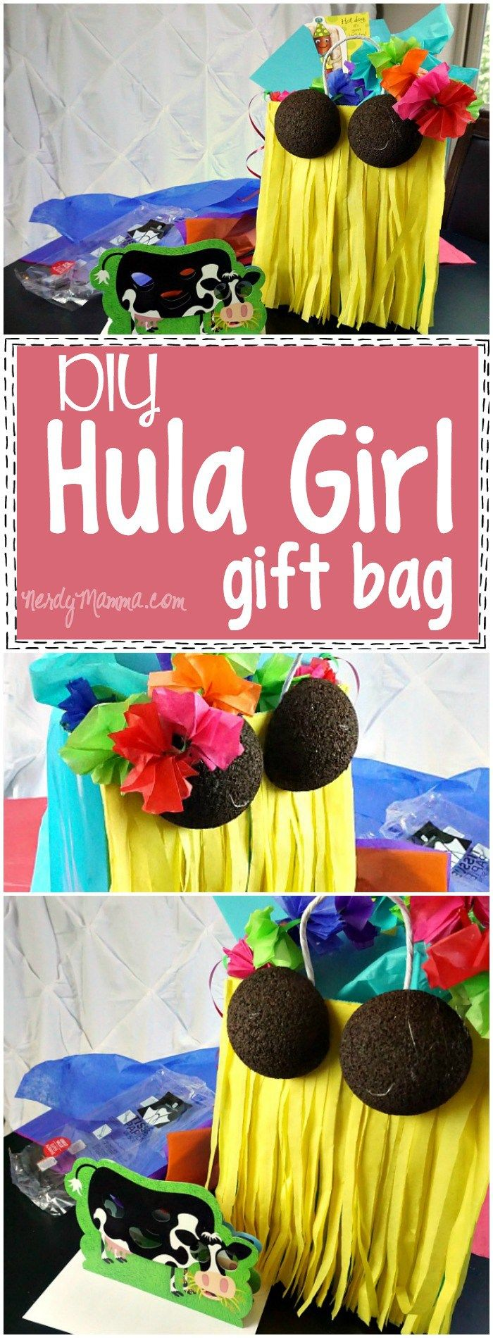 Make this DIY Hula Girl Gift Bag for a birthday or summer party! It's easy to create for this Hawaiian theme. Get crafty with this fun project.