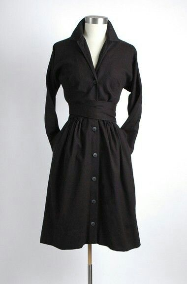 A vintage Claire McCardell shirtdress with obi-style belt and dramatic collar.