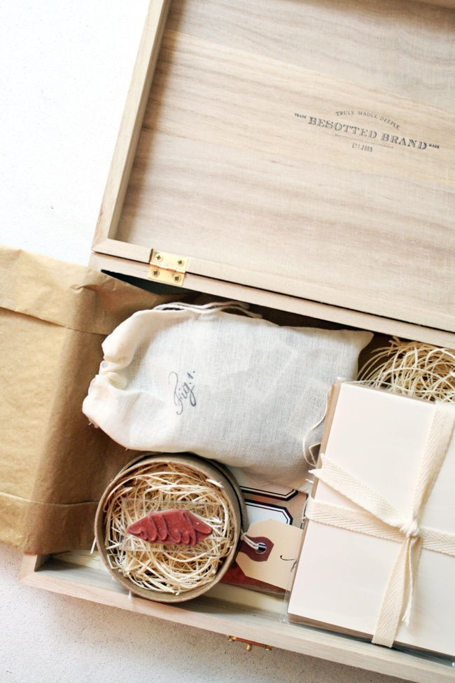 Besotted wood box filled with yummy tags, stamps and other lovely goodness!