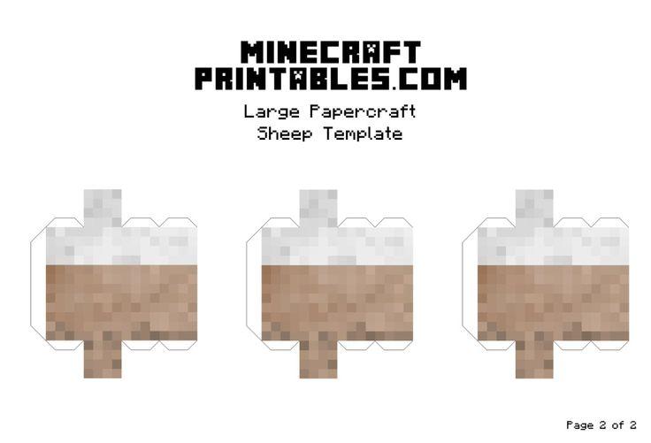 Minecraft Printable Papercraft Sheep Template - Large ...