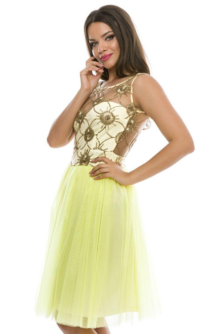 Rochie scurta din dantela si tulle cu spate gol #yellow #dress #elegant #summercollection #fashion #style #2016
