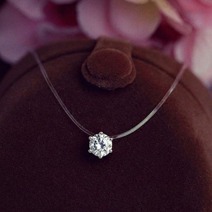 New  Invisible Fishing Line With Clear AAA+Zircon Pendant Necklace For Women necklace go fishing collier file de peche Jewelry